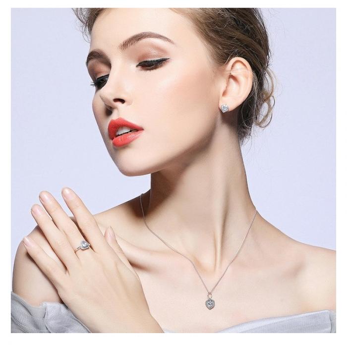 Inel argint 925 cu inimioara si zirconii albe IST0013 6