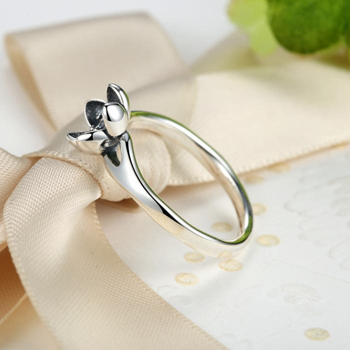 Inel argint 925 cu floare si zirconiu alb IST0015 2