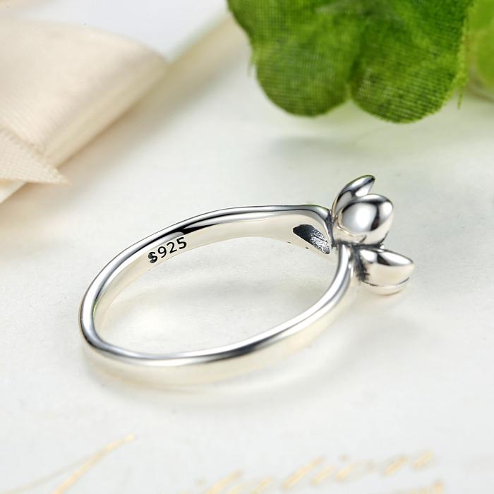 Inel argint 925 cu floare si zirconiu alb IST0015 4