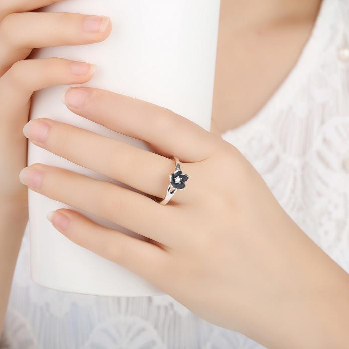 Inel argint 925 cu floare si zirconiu alb IST0015 5