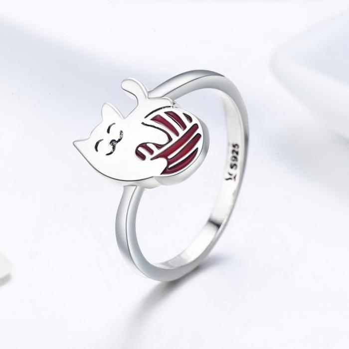 Inel argint 925 cu pisicuta jucausa si ghem - Be Nature IST0036 3