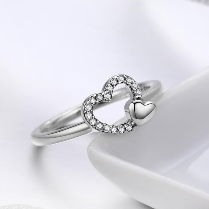 Inel argint 925 cu inimioare si zirconii - Be in Love IST0040 1