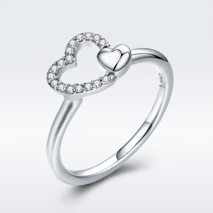 Inel argint 925 cu inimioare si zirconii - Be in Love IST0040 2