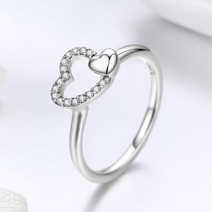 Inel argint 925 cu inimioare si zirconii - Be in Love IST0040 3