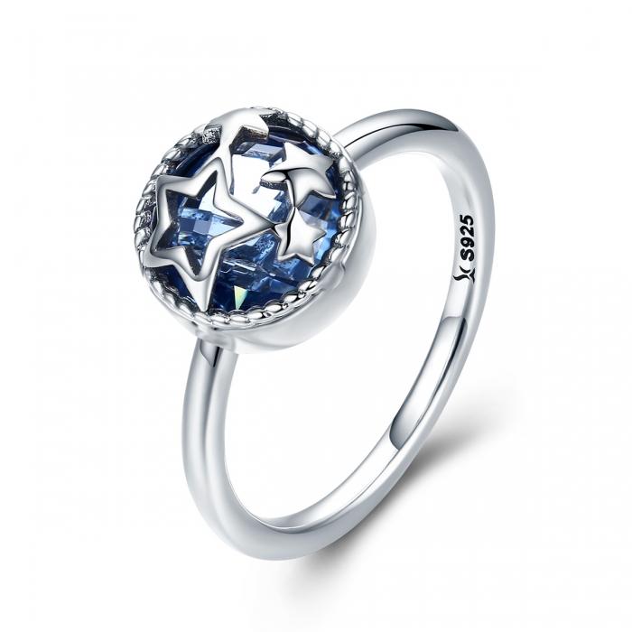 Inel argint 925 cu stelute argintii si cristal albastru - Be Nature IST0044 0