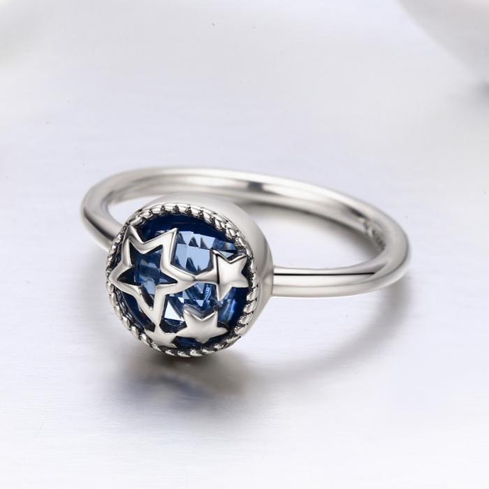 Inel argint 925 cu stelute argintii si cristal albastru - Be Nature IST0044 2