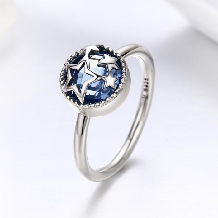 Inel argint 925 cu stelute argintii si cristal albastru - Be Nature IST0044 3