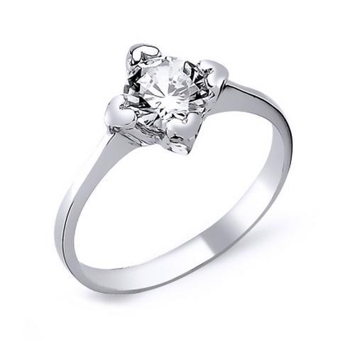 Inel elegant argint 925 rodiat cu inimioare si zirconiu alb - Be in Love 0