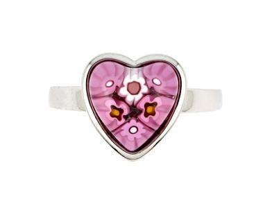 Inel argint 925 cu inimioara din sticla murano Millefiori [1]