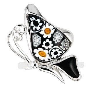 Inel argint 925 cu sticla de murano in forma de fluturas 1