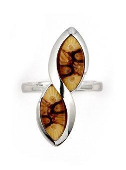 Inel argint 925 cu sticla de murano millefiori maro 1