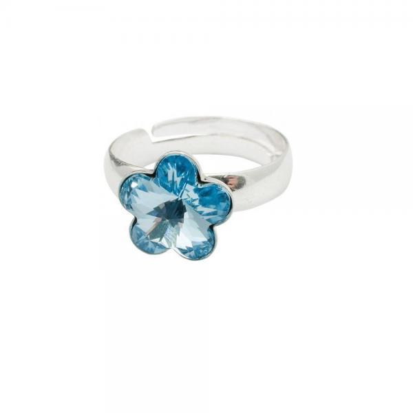 Inel argint 925 floare cu swarovski elements 10 mm Aquamarine 0
