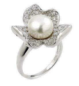 Inel argint 925 in forma de floare cu perla si zirconii [0]