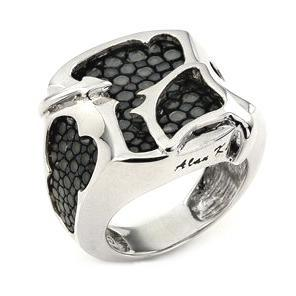 Inel argint 925 in forma de pisica de mare si piele gri [0]