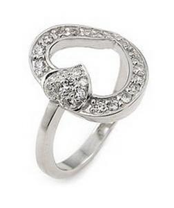 Inel argint 925 rodiat cu 2 inimioare si zirconii 0