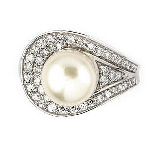 Inel argint 925 rodiat cu perla de cultura si zirconii 1