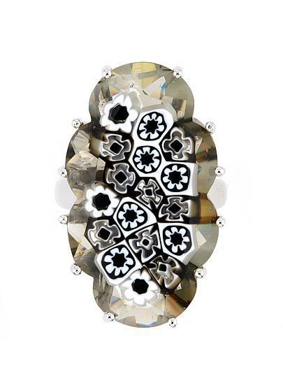 Inel argint 925 rodiat cu sticla de murano 1