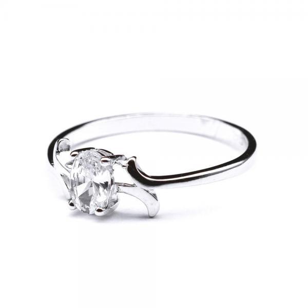 Inel argint 925 rodiat cu zirconiu oval [1]