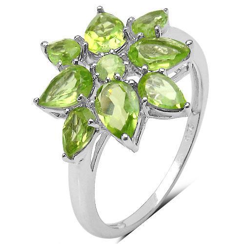 Inel argint 925 rodiat floare cu peridot [1]