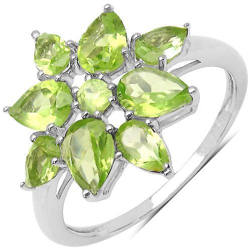 Inel argint 925 rodiat floare cu peridot [3]