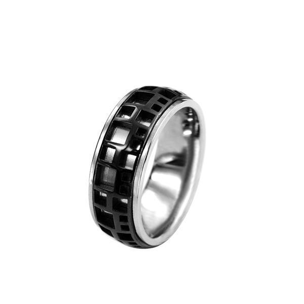 Inel din otel inox argintiu cu negru [0]