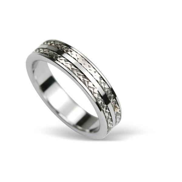 Inel din tungsten cu impletitura din argint [0]
