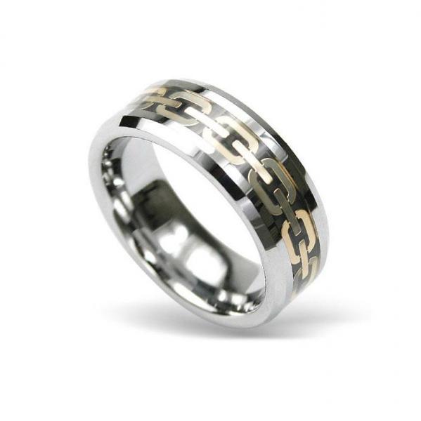 Inel din tungsten cu model auriu si cutiuta bijuterii [0]