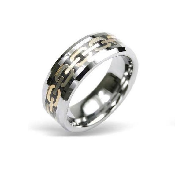 Inel din tungsten cu model auriu si cutiuta bijuterii [1]