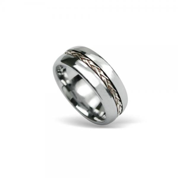 Inel tungsten decorat cu snur impletit din argint [0]