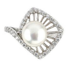 Inel elegant argint 925 rodiat cu perla si zirconii 1