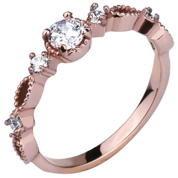 Inel elegant aur roz din otel inox cu zirconii [0]