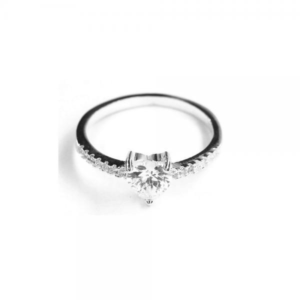 Inel elegant din argint 925 rodiat cu inimioara alba [1]