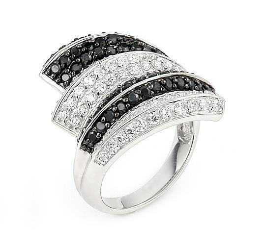 Inel elegant din argint 925 rodiat cu zirconii albe si negre 0