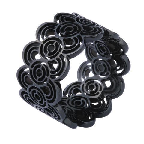 Inel elegant negru din otel inox [0]