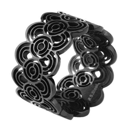Inel elegant negru din otel inox [1]