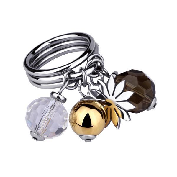 Inel elegant otel inox placat cu aur 0