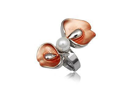 Inel elegant reglabil in forma de floare cu perla 0