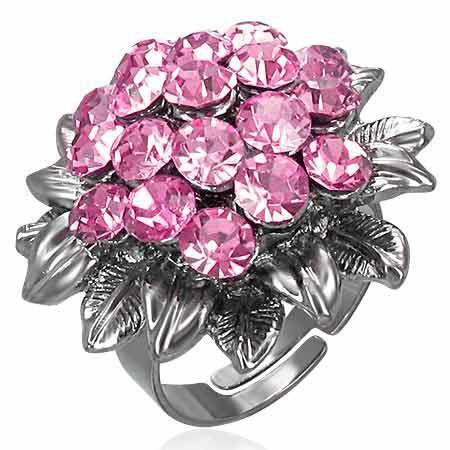 Inel in forma de floare cu zirconii roz si cutiuta bijuterii 0
