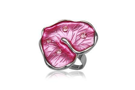 Inel in forma de frunza cu cristale si metal rodiat [0]