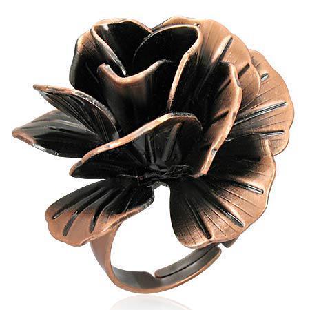Inel reglabil in forma de trandafir si cutiuta bijuterii 0