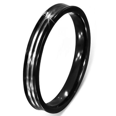 Inel negru otel inox cu dungi argintii [1]
