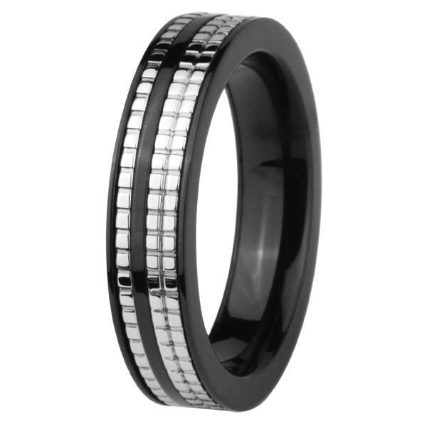 Inel negru otel inox model fermoar [0]