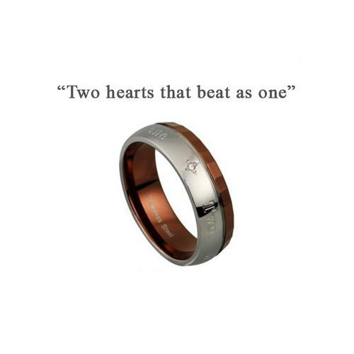 Inel otel inox Two hearts that beat as one 0