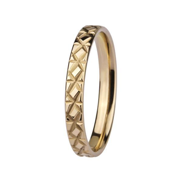 Inel elegant din inox aurit decorat cu cruciulite 0