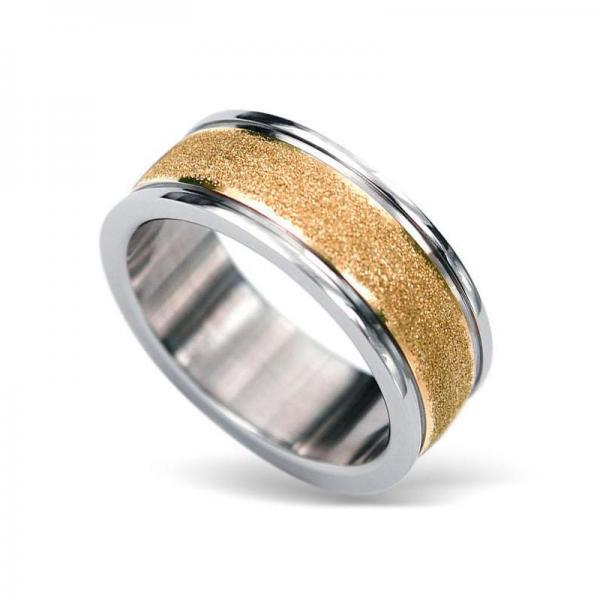 Inel otel inox auriu cu aspect nisipos 0