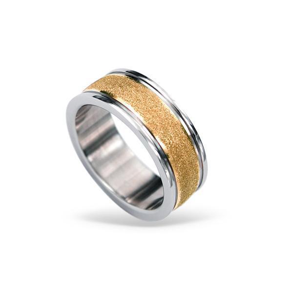 Inel otel inox auriu cu aspect nisipos 1