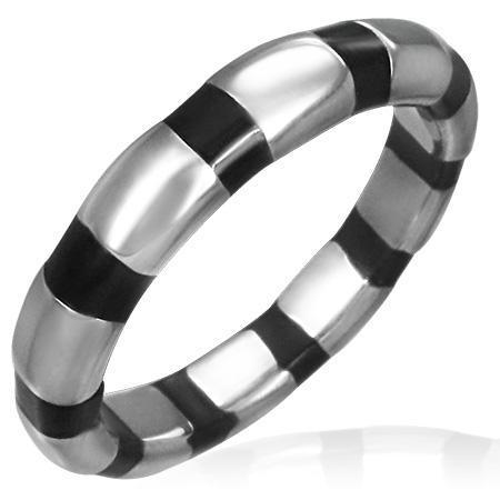 Inel otel inox zebra argintiu cu negru [0]