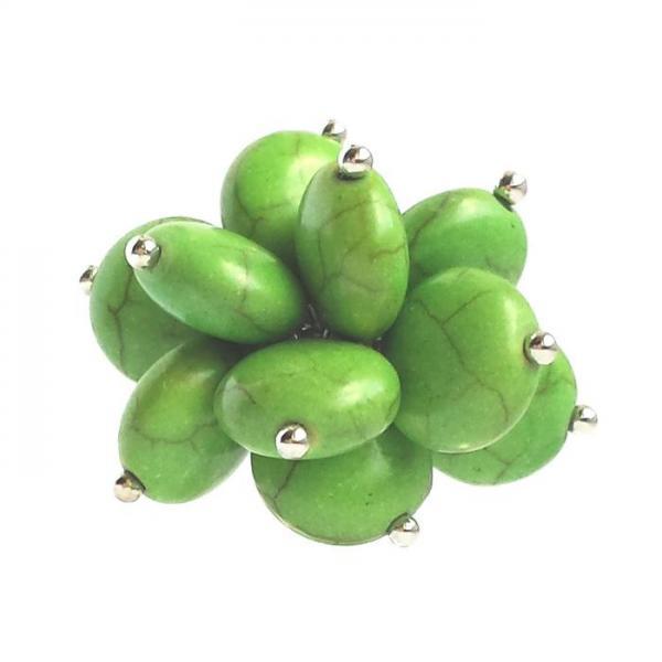 Inel reglabil decorat cu pietricele verzi 0