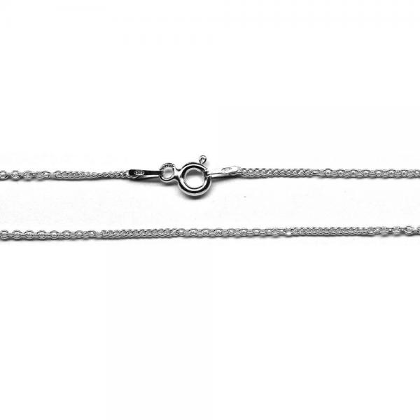 Lant argint 925 45 cm cu doua modele de zale ovale 0