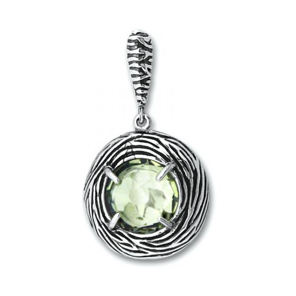 Pandant elegant argint 925 cu ametist verde 0